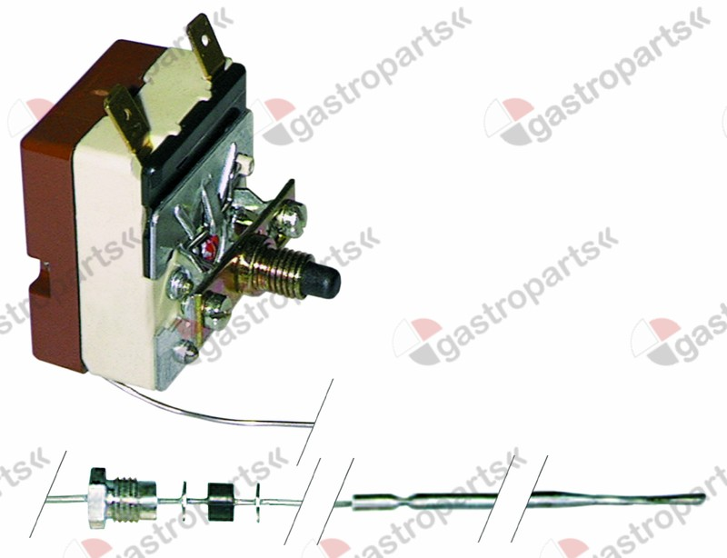375.048, safety thermostat switch-off temp. 132°C 1-pole 16A probe ø 3,1mm probe L 248mm