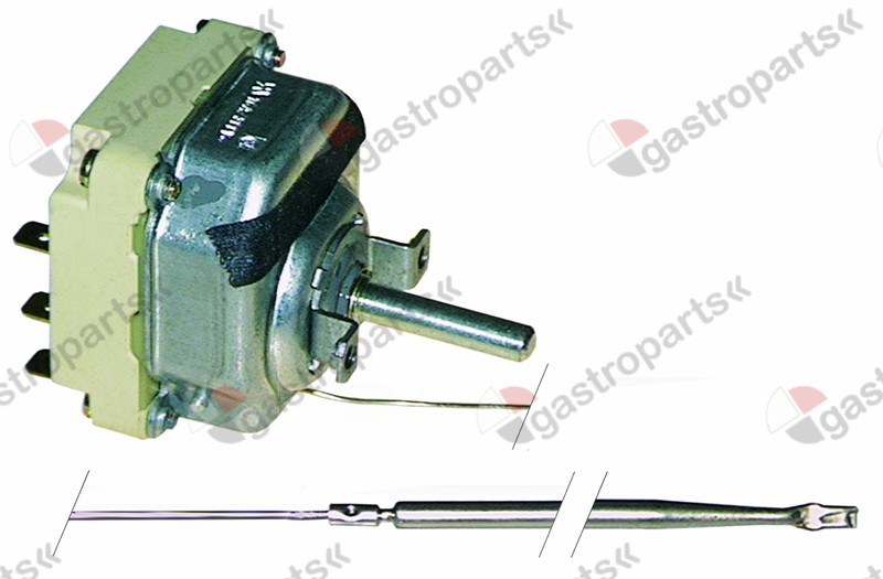 375.057, thermostat t.max. 300°C temperature range 60-300°C 3-pole 3NO 16A probe ø 4mm probe L 128mm