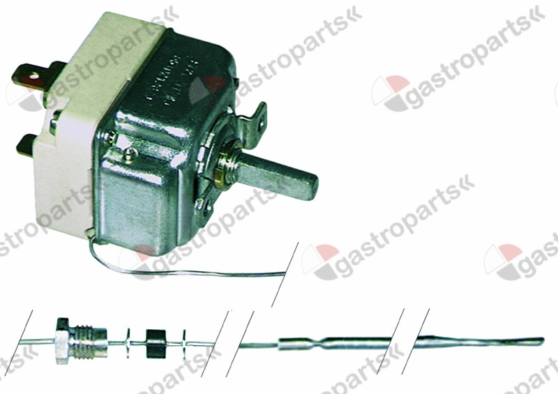 375.070, thermostat t.max. 250°C temperature range 55-250°C 1-pole 1CO 16A probe ø 3,1mm probe L 226mm