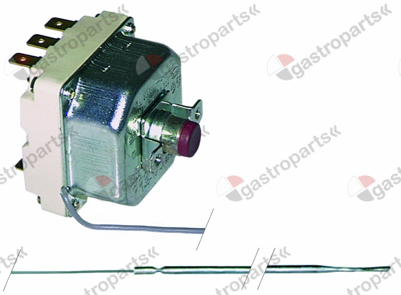 375.072, safety thermostat switch-off temp. 170°C 3-pole 20A probe ø 3,1mm probe L 524mm