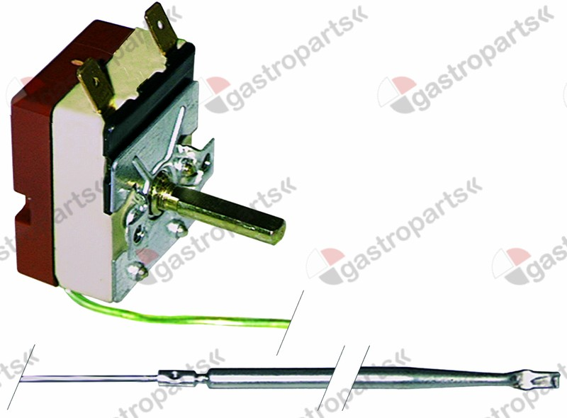 375.088, thermostat t.max. 300°C temperature range 60-300°C 1-pole 1NO 16A probe ø 4mm probe L 100mm