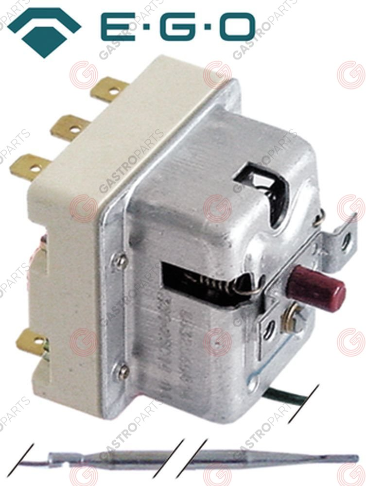 375.090, safety thermostat switch-off temp. 365°C 2-pole 16A probe ø 4mm probe L 120mm