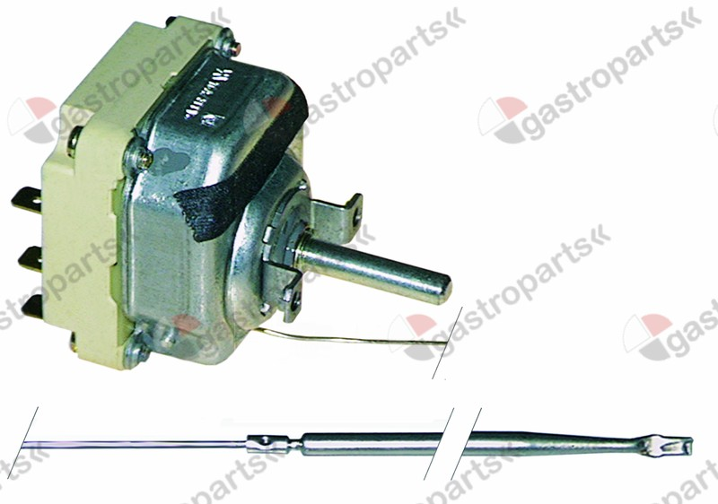 375.107, thermostat t.max. 350°C temperature range 60-350°C 3-pole 3NO 16A probe ø 4mm probe L 128mm
