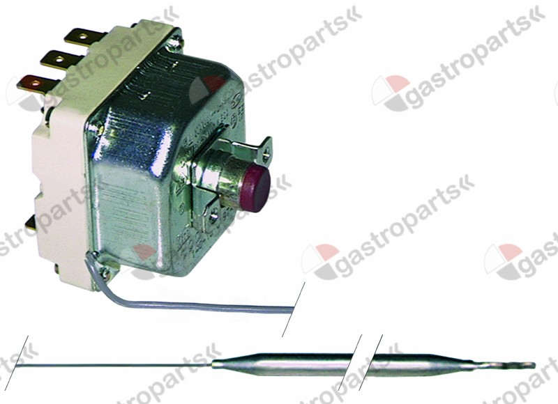 375.108, safety thermostat switch-off temp. 250°C 3-pole 1x20/2x0.5A probe ø 6mm probe L 157mm