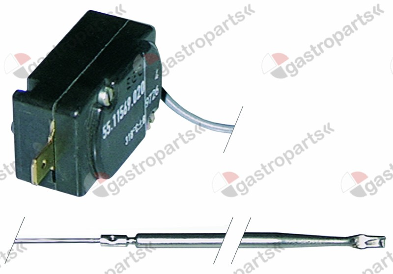 375.109, safety thermostat switch-off temp. 240°C 1-pole 16A probe ø 4mm probe L 91mm capillary pipe 530mm