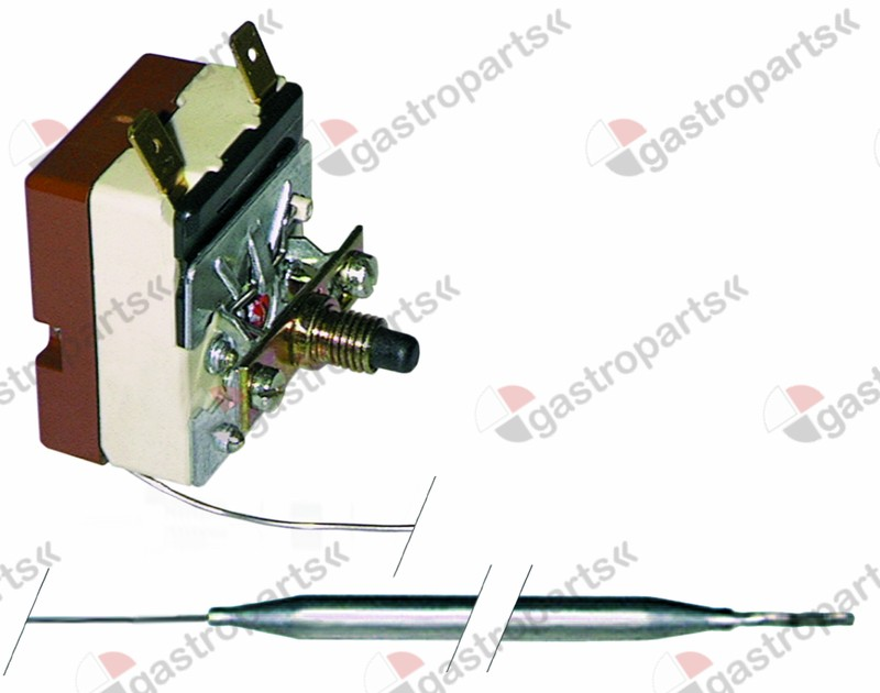 375.115, safety thermostat switch-off temp. 145°C 1-pole 16A probe ø 6mm probe L 73mm capillary pipe 830mm