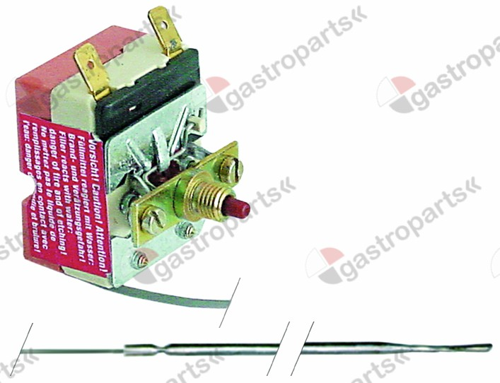 375.121, safety thermostat switch-off temp. 420°C 1-pole 16A probe ø 3,9mm probe L 228mm