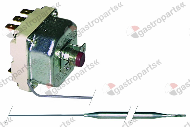 375.127, safety thermostat switch-off temp. 290°C 3-pole 20A probe ø 6mm probe L 220mm capillary pipe 840mm