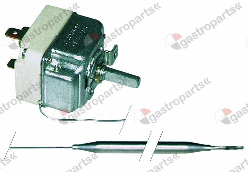 375.135, thermostat t.max. 91°C temperature range 25-90°C 1-pole 1CO 16A probe ø 6mm probe L 174mm
