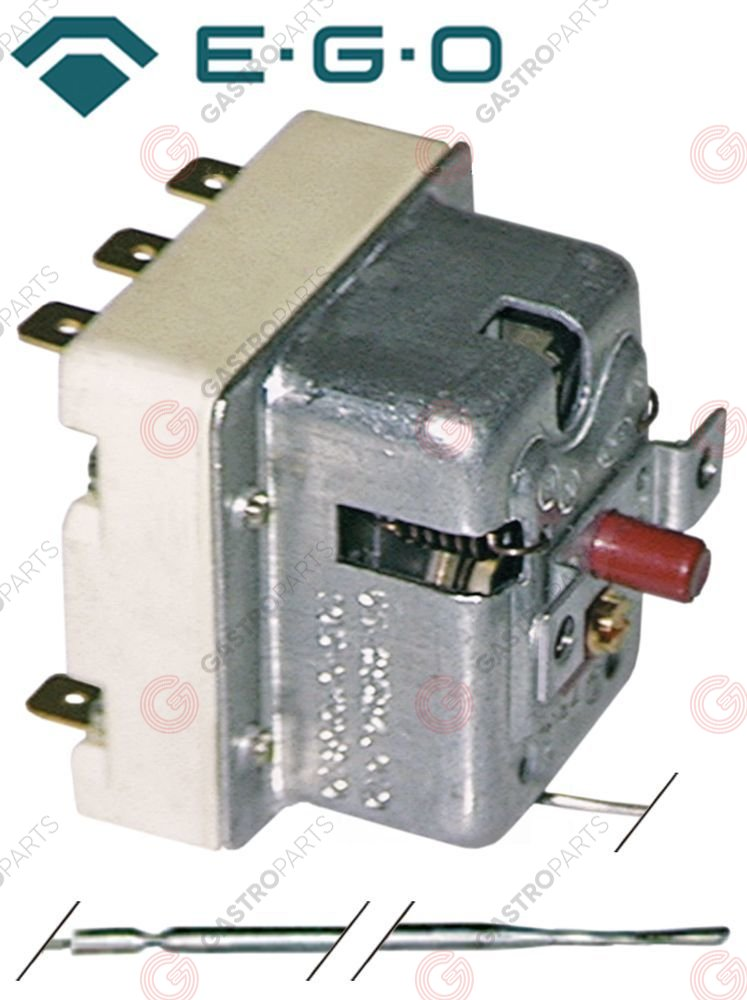 375.139, safety thermostat switch-off temp. 108°C 3-pole 20A probe ø 3mm probe L 190mm capillary pipe 600mm