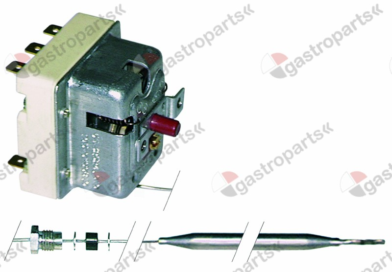 375.150, safety thermostat switch-off temp. 145°C 3-pole 20A probe ø 3mm probe L 178mm