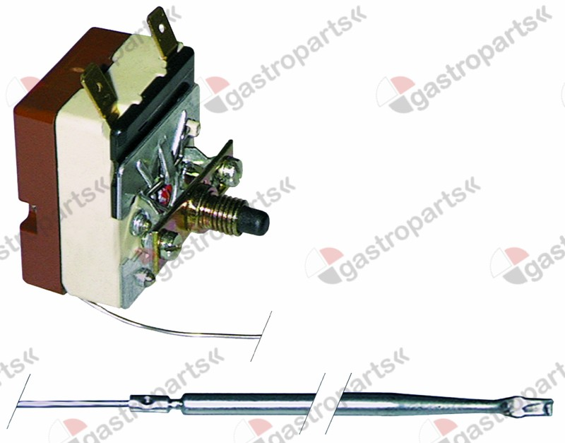 375.157, safety thermostat switch-off temp. 140°C 1-pole 16A probe ø 5mm probe L 96mm capillary pipe 1470mm