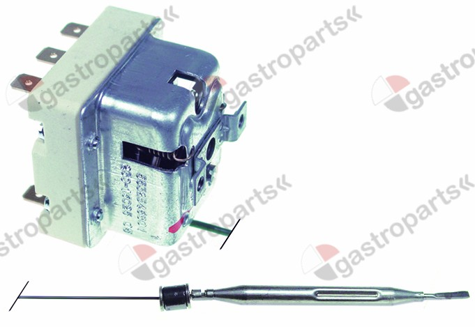 375.189, safety thermostat switch-off temp. 230°C 3-pole 20A probe ø 6mm probe L 89mm capillary pipe 3000mm
