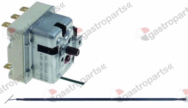 375.190, safety thermostat switch-off temp. 560°C 3-pole 20A probe ø 3,9mm probe L 228mm
