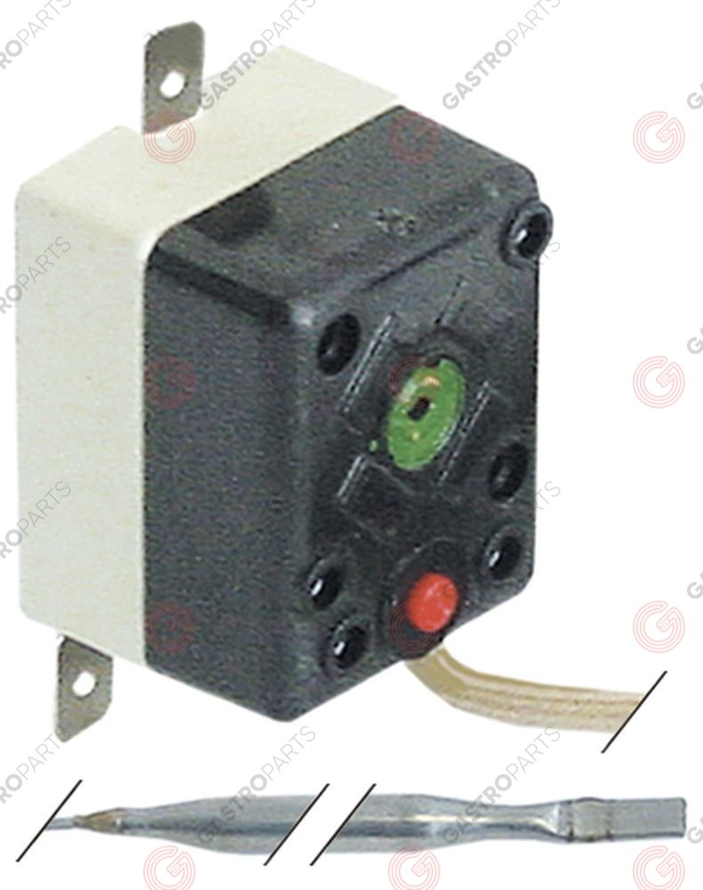 375.195, safety thermostat switch-off temp. 240°C 1-pole 16A probe ø 4mm probe L 84mm capillary pipe 400mm