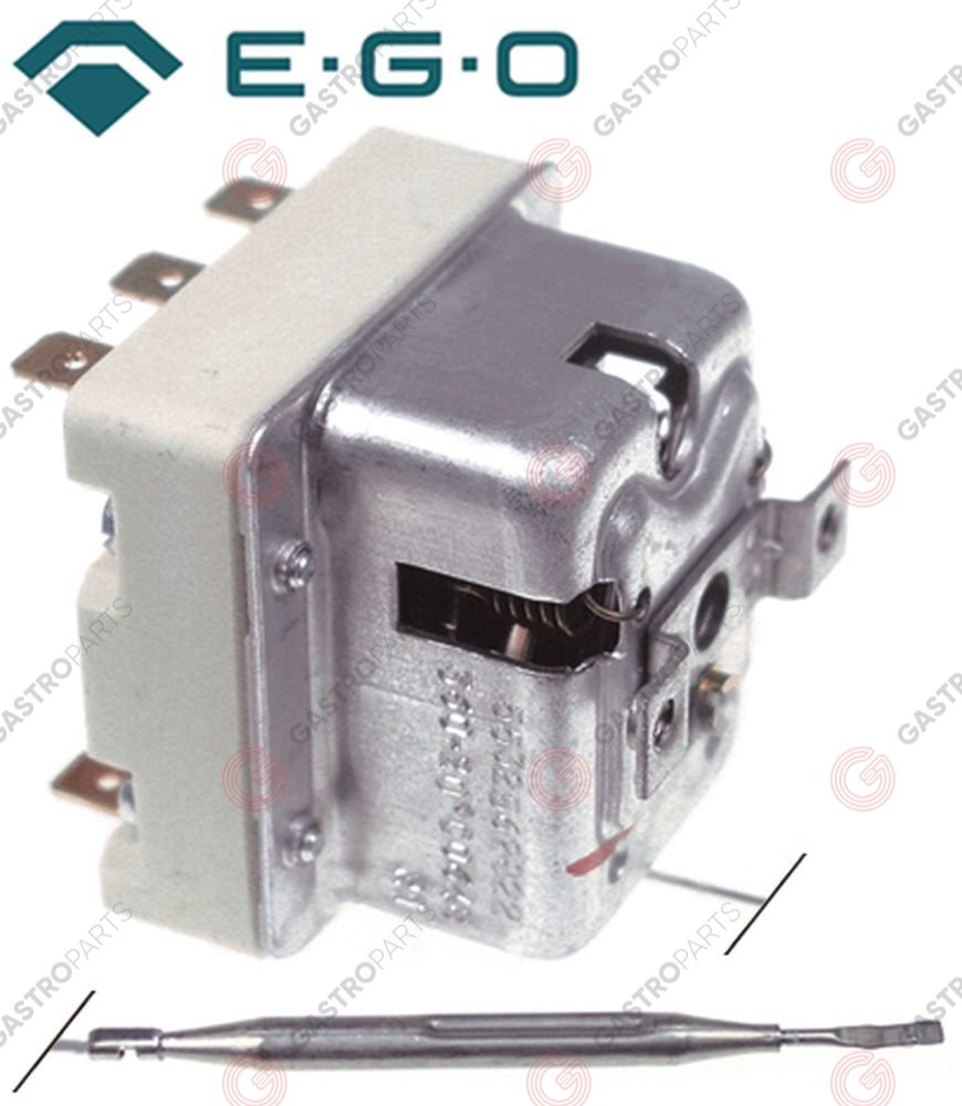 375.199, Safety thermostat switch-off temp. 132°C 3-pole 2x20/1x0.5A probe ø 6mm probe L 77mm