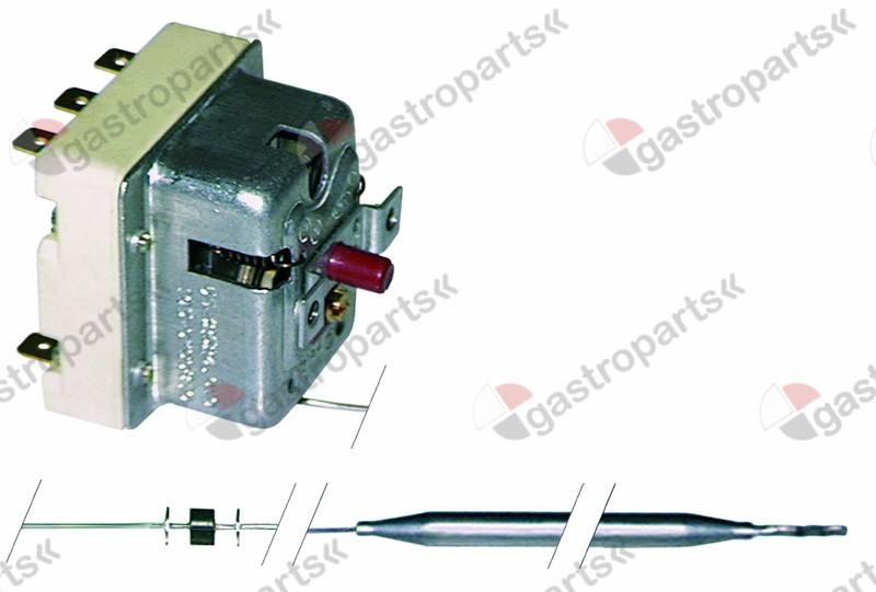 375.209, safety thermostat switch-off temp. 140°C 3-pole 20A probe ø 6mm probe L 89mm capillary pipe 900mm