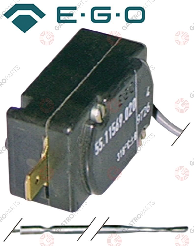 375.213, safety thermostat switch-off temp. 98°C 1-pole 16A probe ø 3,1mm probe L 248mm capillary pipe 1770mm