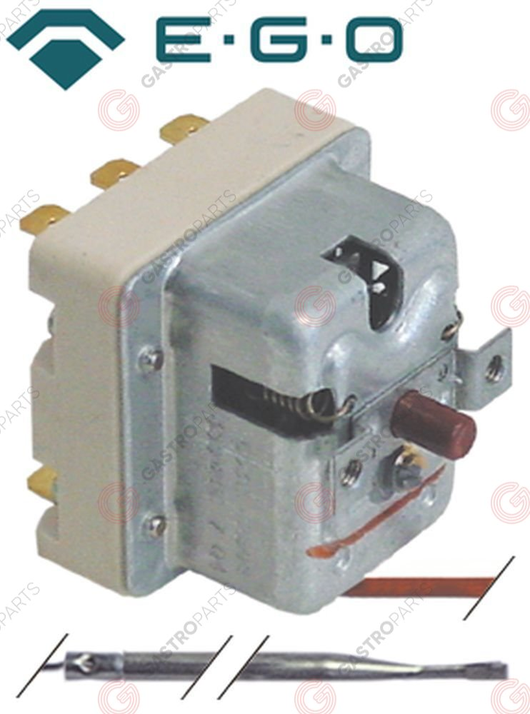 375.228, safety thermostat switch-off temp. 350°C 3-pole 20A probe ø 3mm probe L 188mm capillary pipe 900mm