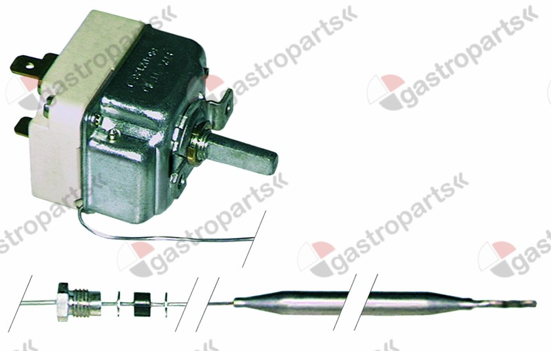 375.231, thermostat t.max. 90°C temperature range 30-90°C 1-pole 1NO 16A probe ø 6mm probe L 130mm
