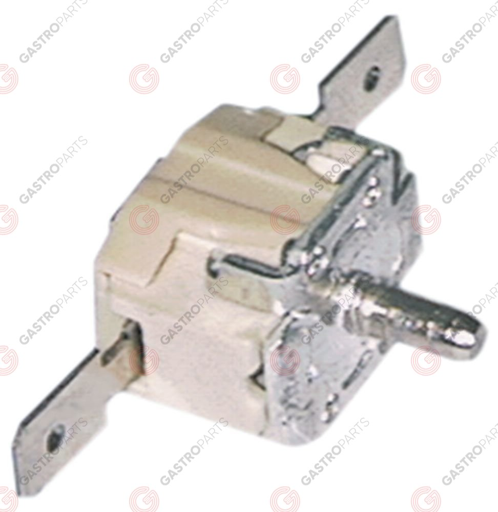 375.242, Bi-metal thermostat switch-off temp. 92°C 1NC 1-pole 16A connection F6.3 spindle ø3.5mm
