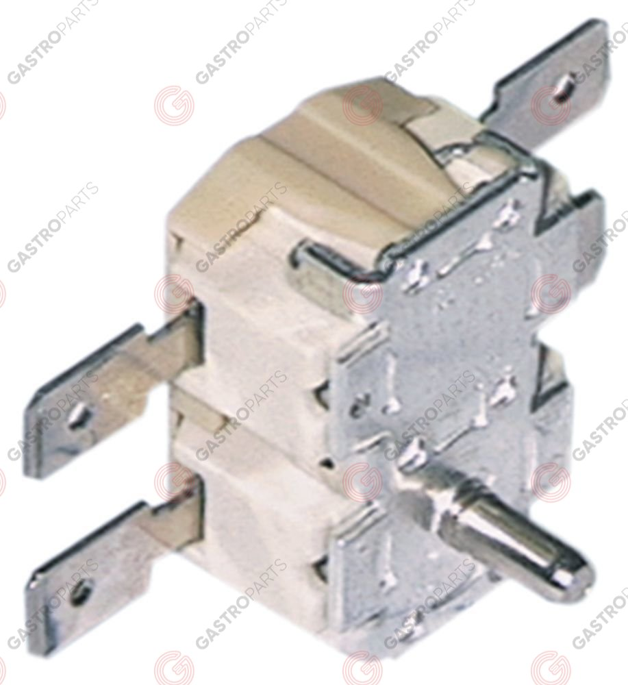 375.243, bi-metal thermostat switch-off temp. 80/105°C 2NC 2-pole 16A connection F6.3 spindle ø3.5mm