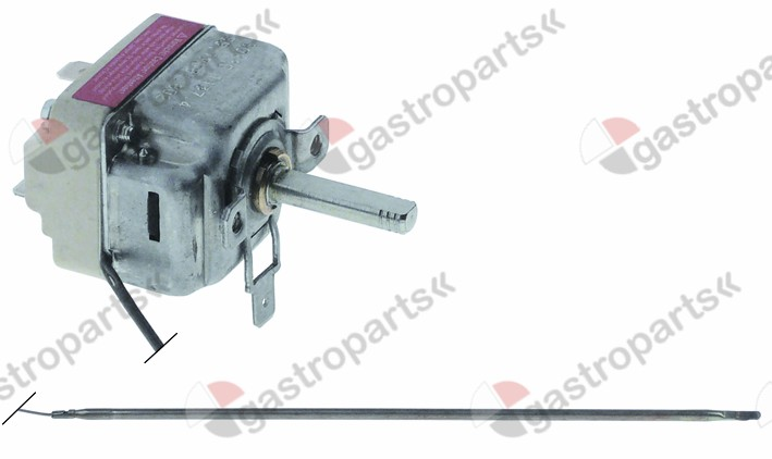 375.247, thermostat t.max. 500°C temperature range 75-500°C 1-pole 1NO 16A probe ø 4mm probe L 228mm