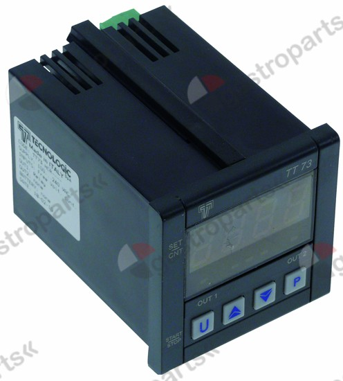379.987, time relay TECNOLOGIC TT73HCR time range 0-9999h 100-240VAC 8A mounting measurements 66.5x66.5mm