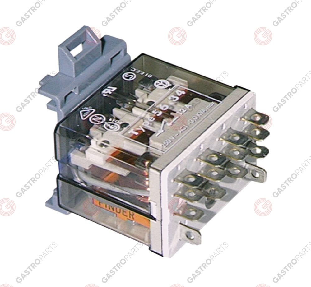 380.196, Replaced by 380449 / 380448 / power relays FINDER 230VAC 12A 4COconnection male faston 4.8mm DIN rail