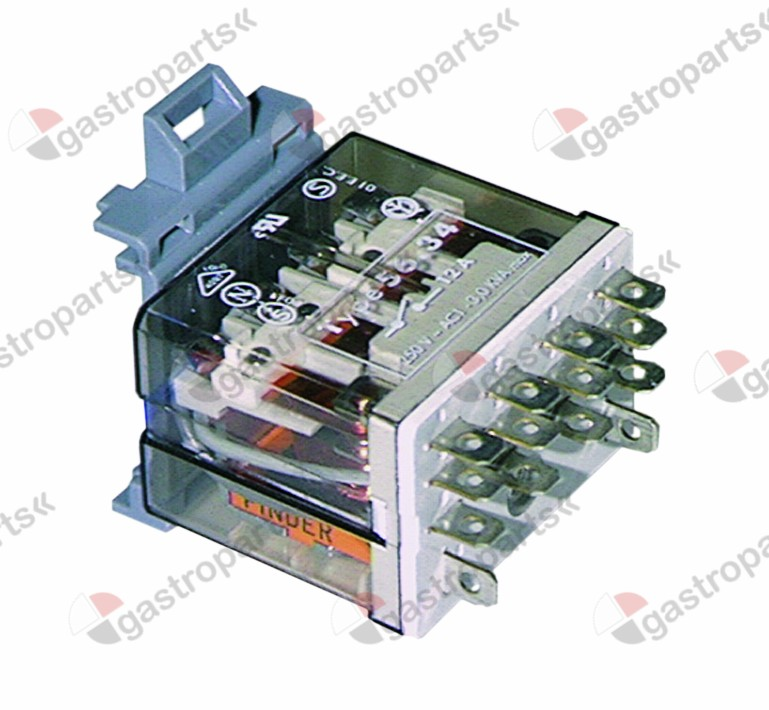 380.196, vermogensrelais FINDER 230VAC 12A 4CO aansluiting vlaksteker 4,8mm DIN-rail
