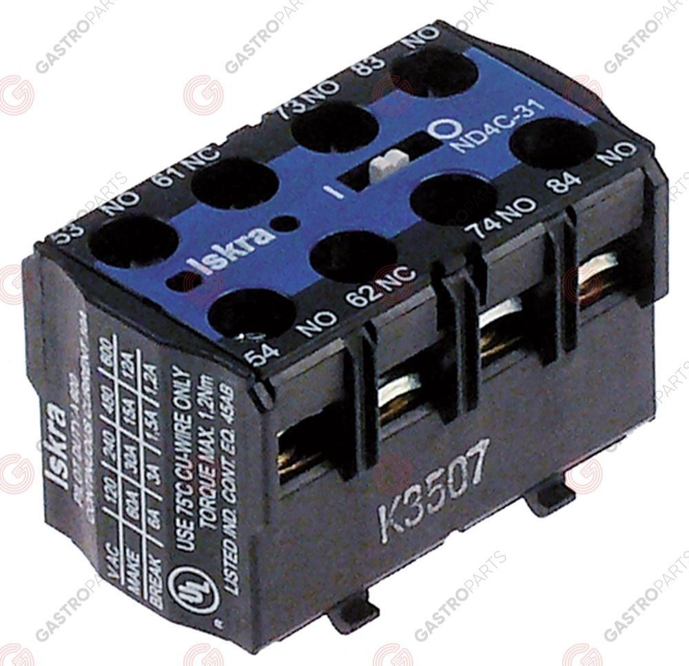 380.225, auxiliary contact contacts 3NO/1NC AC15 6A for contactors K03C/K07C