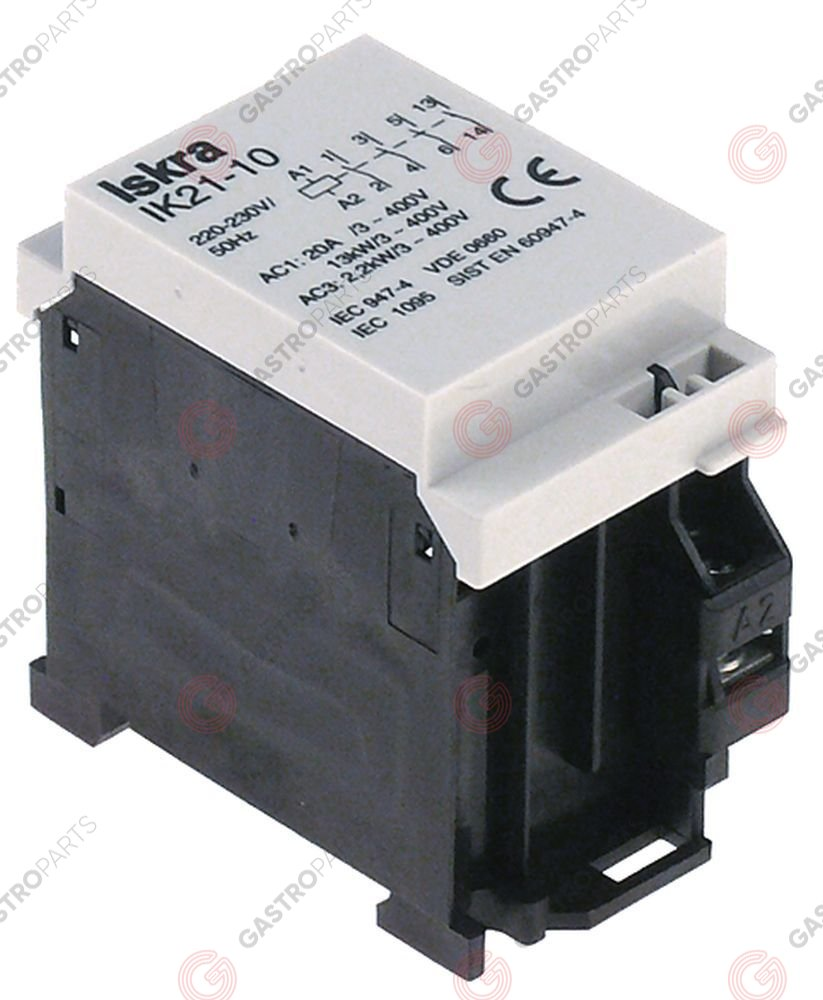 380.250, installation contactor 230V resistive load 20A (AC3/400V) 1,5kW main contacts 4NO type IK21-10