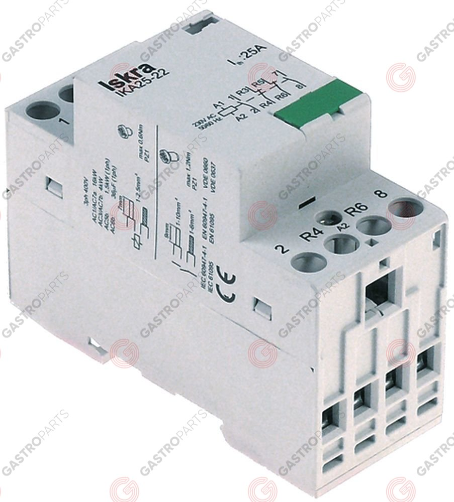 380.257, installation contactor 230V resistive load 25A (AC3/400V) 2,2kW main contacts 4NO AC-1 16kW