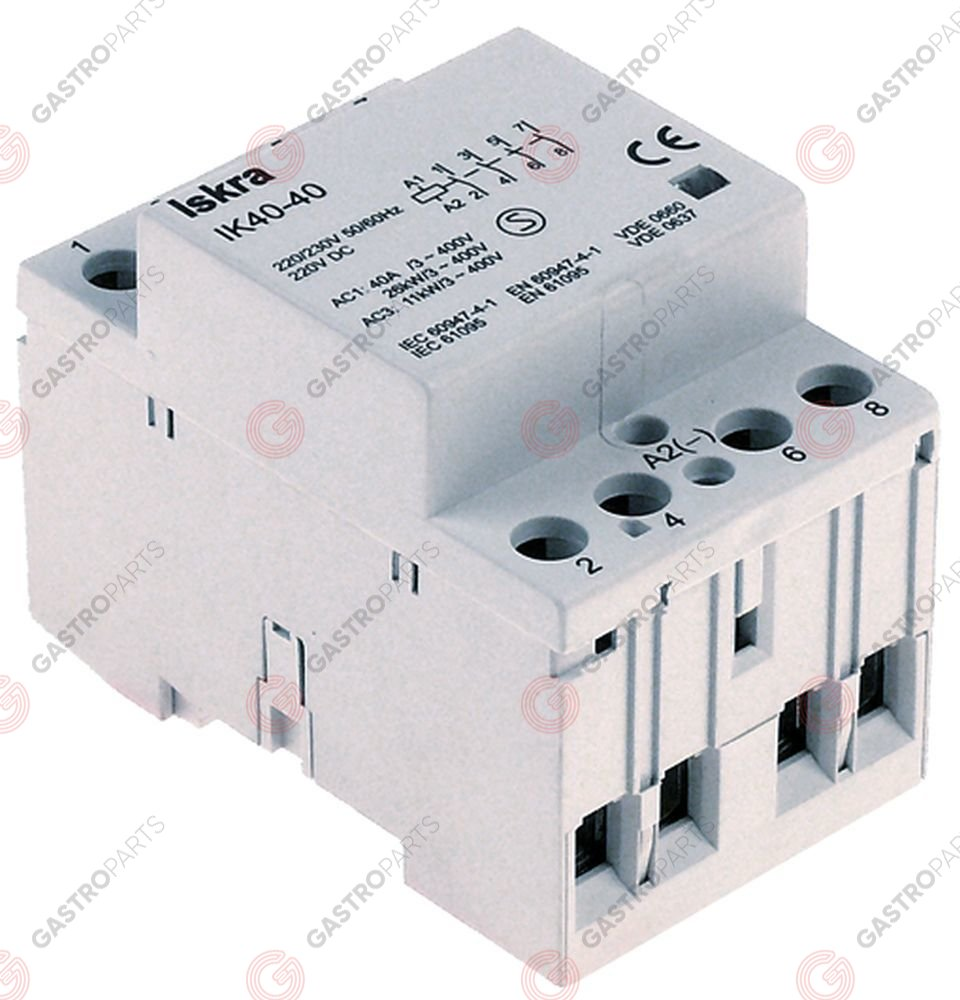 380.259, installation contactor 230V resistive load 40A (AC3/400V) 5,5kW main contacts 4NO AC1 40A