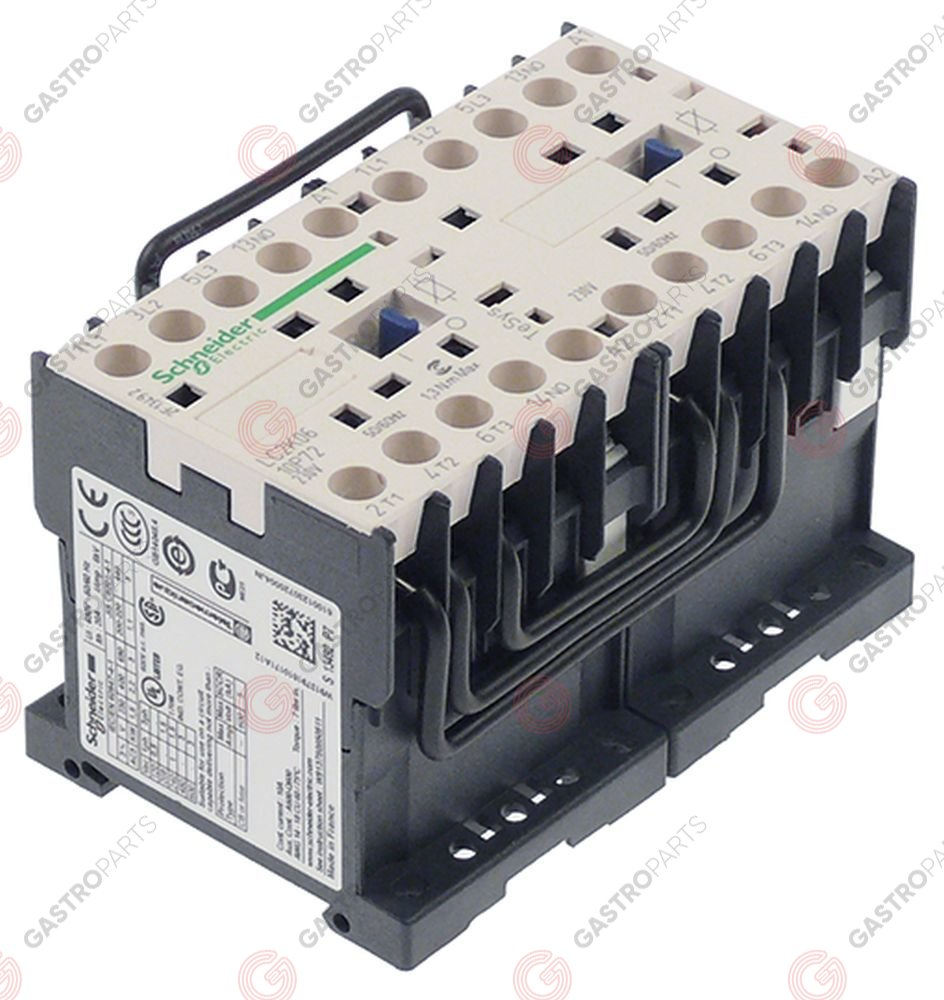 381.010, power contactor resistive load 20A 230VAC (AC3/400V) 6A/2.2kW main contacts 2x3NO