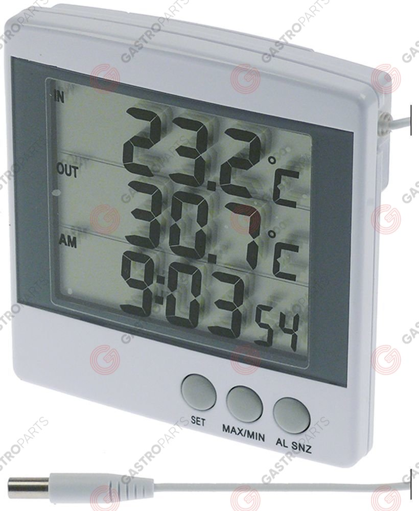 381.349, Thermometer -50 up to +70°C size 100x100 display digital, with battery