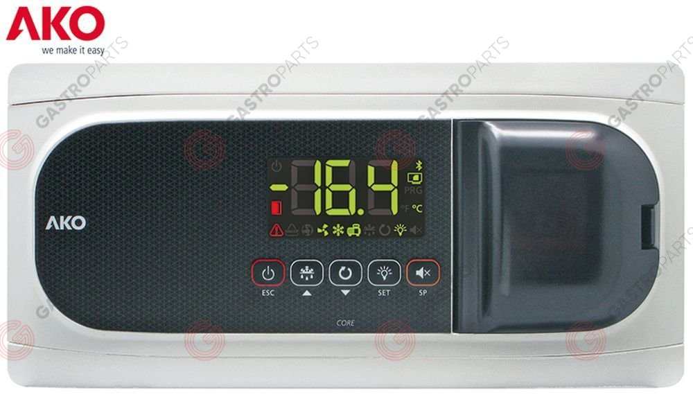 381.519, refrigeration controller AKO type 16523P mounting measurements 290x70mm 230V voltage AC NTC 1 PC