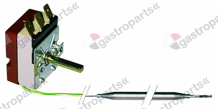 390.300, Replaced by 375006 / thermostat t.max. 85°C temperature range 30-85°C1-pole 1NO 16A probe ø 6mm probe L 94mm