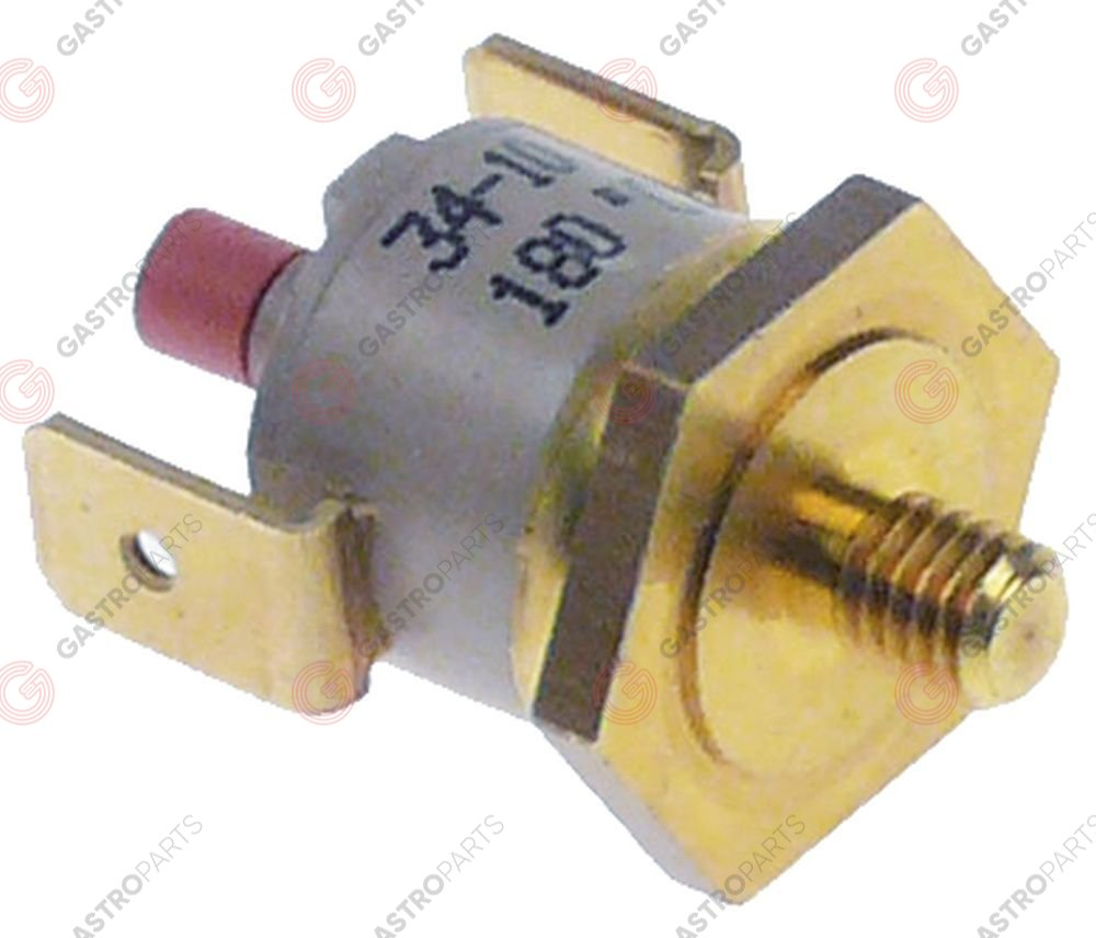 390.709, bi-metal safety thermostat switch-off temp. 180°C 1NC 1-pole 16A connection F6.3 screw mounting