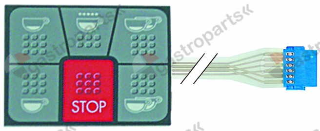 400.674, membrane keypad coffee machine buttons 6 L 58mm W 68mm