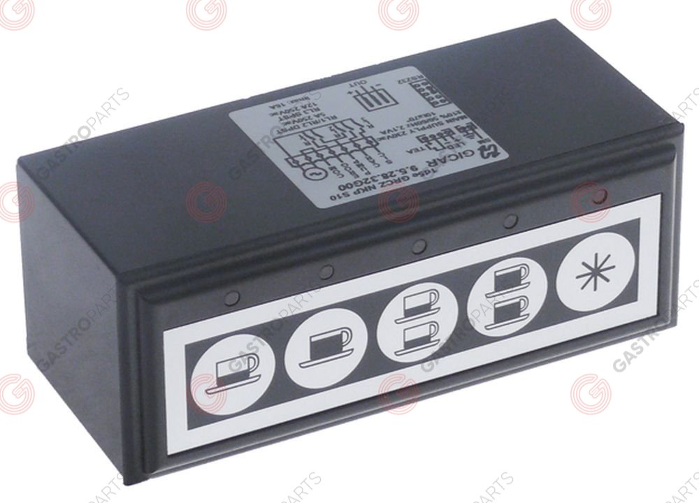 402.627, keypad unit buttons 5 black/silver type 1d5e GRCZ NKP S10 lighting LED 230V L 117mm