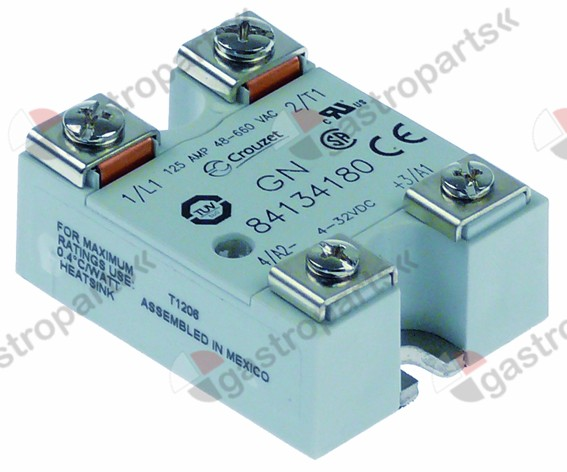 Solid state relay CROUZET 1 phase 125A 48660V 432VDC L 57mm W 44mm