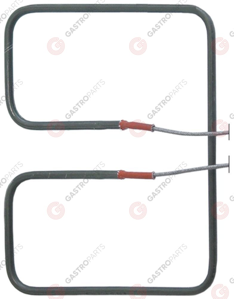 416.722, heating element 750W 230V L 175mm W 212mm H 22mm tube ø 6,3mm W1 90mm W2 33mm connection cable