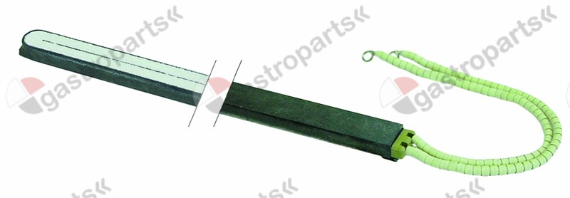 480.033, No longer available / heating rod type E2 700W 400V L 600mm H 11mmW 22,5mm total length 608,5mm cable length 250mm