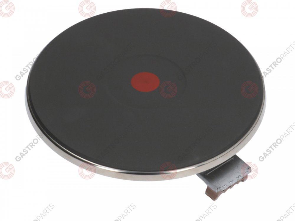 490.021, EGO hot plate ø 220mm 2600W 400V connection 4 screw clamps with 8mm spill ring