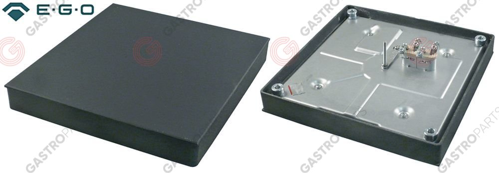 490.078, hot plate dimensions 300x300mm 3000W 400V with cast edge connection 4 screw clamps square