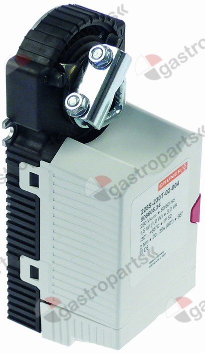 501.509, actuator GRUNER type 225S-230T-02-004 1,5W 230V voltage AC/DC 50/60Hz shaft o 16mm L 170mm W 66mm