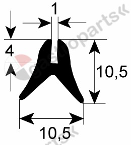 511.610, oven gasket profile 1615 L 1950mm Qty 1