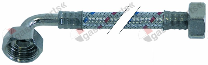 520.564, flex hose SS braid straight-curved DN10 connection 1: 1/2