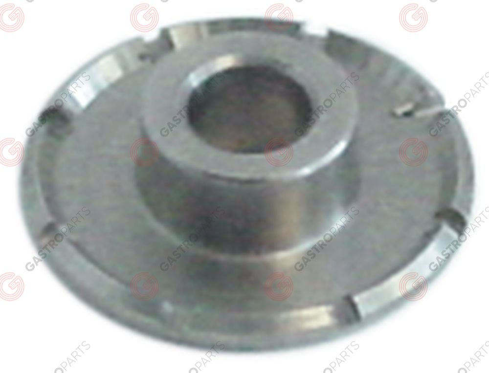 529.141, water dispersion ø 21mm with central hole hole ø 5,6mm H 6mm 8 notches 1mm stainless steel